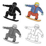 The athlete with the blue jacket and red pants on a snowboard.Snowboarder at the Olympics.Olympic sports single icon in Stock Photo