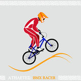 Athlete BMX racer. Greek art stylized BMX racer jumping on tracks Stock Images