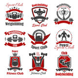 Athlete bodybuilder and weight sport icon. Weight sport and bodybuilder isolated icon. Strong athlete and cup with laurel wreath, powerlifting athlete with royalty free illustration