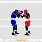 Athlete Boxers. Greek art stylized boxers at the boxing ring Royalty Free Stock Photos