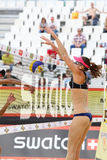 Athlete from Brazil threw ball over net Stock Photo