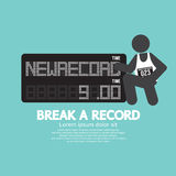 The Athlete With Break A Record Banner. Stock Photos