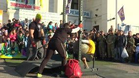 An athlete cannot throw a stone ball 160 kg. MARIUPOL, UKRAINE - OCTOBER 10, 2015 : Match meeting strongmen Ukraine and Europe. An athlete cannot throw a stone stock video footage