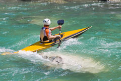 Athlete in a canoe. On the river Stock Image