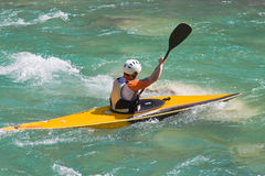 Athlete in a canoe. On the river stock photos