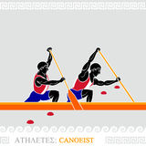 Athlete canoeist. Greek art stylized canoe team at the competition Royalty Free Stock Photography