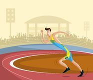 Athlete. Cartoon style athlete running on track in vector vector illustration