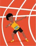 Athlete celebrating. 100m Stock Photography
