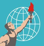 The athlete with the ceremonial flaming torch background of the globe. Rio. Brazil 2016. Vector illustration. The athlete with the ceremonial flaming torch Stock Image
