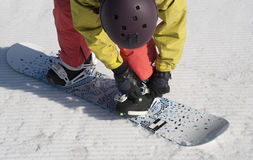 The athlete checks fastenings on a snowboard before descent. Royalty Free Stock Image