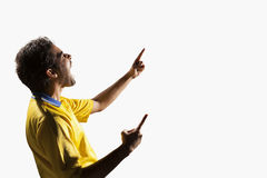 Athlete cheering on a white background Royalty Free Stock Photography