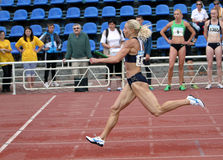 Athlete compete in relay race Royalty Free Stock Photography