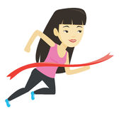 Athlete crossing finish line vector illustration. Happy asian sportswoman running through the finish line. Young cheerful winner crossing the finish line Royalty Free Stock Photography
