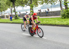 An athlete cycles in the Cologne Stock Photo
