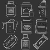 Athlete diet white line vector icons Stock Images