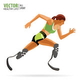 Athlete with a disability. Paralympic. Running. Athletic woman. The prosthetic leg.Championship. Athletics. Vector. Athlete with a disability. Paralympic Royalty Free Stock Photos
