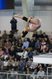 Athlete during diving championships Stock Images
