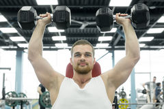 Athlete doing exercise for shoulders with dumbbells sitting on a bench. young muscular man trains at the gym. Athlete doing exercise for shoulders with Stock Photos