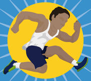 Athlete doing a High Jump, Vector Illustration Royalty Free Stock Image