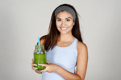 Athlete Drinking Shake Royalty Free Stock Images