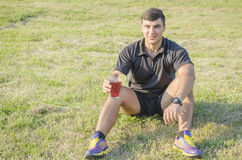 The athlete drinks water Stock Photos