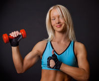 Athlete with dumbbell Stock Photo