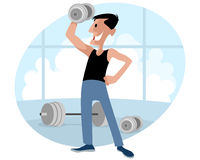Athlete with dumbbells Royalty Free Stock Photos
