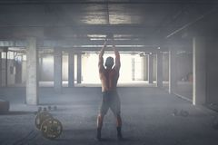 Athlete is engaged in crossfit royalty free stock photo