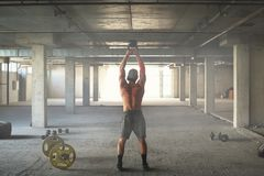 Athlete is engaged in crossfit stock photography