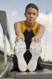 Athlete Exercising On Stadium Bench Royalty Free Stock Image