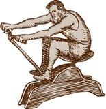 Athlete Exercising Vintage Rowing Machine Etching Stock Image