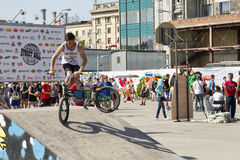 The athlete is an extreme sports enthusiast performs a trick on Royalty Free Stock Image