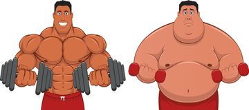 Athlete & fatso. Illustration: the athlete and the Fatman Royalty Free Stock Photos