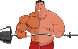 Athlete & fatso. Illustration: the athlete and the Fatman Royalty Free Stock Images