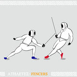 Athlete Fencers. Greek art stylized fencers in protection uniform Royalty Free Stock Photography