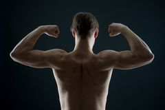 Athlete with fit torso, back view. Man bodybuilder flex arm muscles. Sportsman show biceps and triceps. Workout and training activ. Ity in gym. Power and Royalty Free Stock Photo