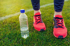 Athlete foot on the green grass. Sports stadium football field Royalty Free Stock Photo
