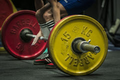 Athlete getting ready for a deadlift Royalty Free Stock Image