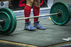 Athlete getting ready for a deadlift Stock Photos