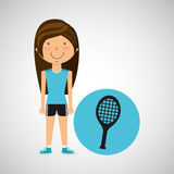 Athlete girl racket tennis sport style Royalty Free Stock Images