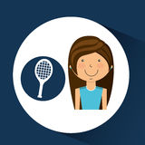 Athlete girl racket tennis sport style Royalty Free Stock Photos