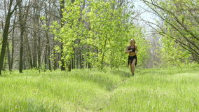 Athlete girl running in the park. Beautiful young athlete girl running in the park stock video