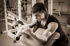 The athlete in the gym. Exhausting classes. Work on your body. Sophisticated power exercises. Photos for magazines, posters, backdrops and websites Stock Image