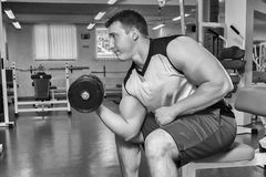 The athlete in the gym stock photo
