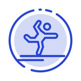 Athlete, Gymnastics, Performing, Stretching Blue Dotted Line Line Icon stock illustration