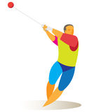 Athlete is hammer thrower. A young athlete demonstrates the ideal technique of hammer throwing Stock Image