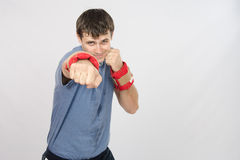 The athlete has a hand with weighting agent Stock Photo