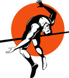 Athlete high jump. Vector illustration of an athlete doing the high jump on white background stock illustration
