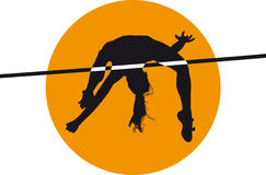Athlete high jump black silhouette vector illustration Stock Photo