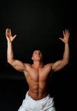 Athlete on his knees Royalty Free Stock Photos